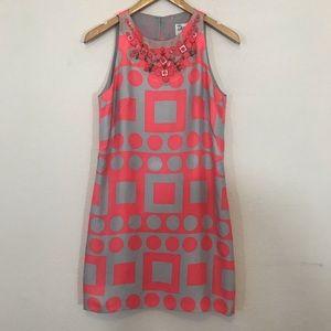 Milly geometric print silk sheath dress Sz 2 Silk